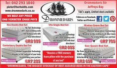 Drommedaris is stretching the budget to bring you more special offers. Try these Rest Assured beds marked down to unbelievable prices. While stocks last and remember we will deliver. Double Bedding Sets, Queen Bedding Sets, Old Beds, Weekly Specials, Easter Weekend, Facebook Sign Up, Stretching, Mattress, Budgeting