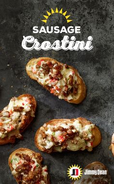 This Sausage Crostini recipe with crunchy French bread baked to perfection and savory Jimmy Dean Fresh Sausage, with signature seasonings, surrounded by onion and cheese is a simple way to satisfy the whole crowd. Appetizer Dips, Yummy Appetizers, Appetizers For Party, Appetizer Recipes, Dinner Recipes, Breakfast Recipes, Snack Recipes, Cooking Recipes, Cooking Ideas