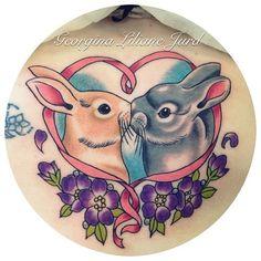 Tattoo by Georgina Jurd, bunny tattoo Bunny Tattoos, Rabbit Tattoos, Love Tattoos, Tatoos, Devil Tattoo, I Tattoo, Piercings, Pink Rabbit, Ink Master