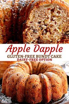 Gluten-Free Apple Dapple Bundt Cake {Dairy-Free Option} This gluten-free Apple Dapple Bundt Cake is a super moist cake that is loaded with fresh apples, crunchy pecans and covered in a buttery brown sugar glaze. The recipe has a dairy-free option. Dairy Free Bread, Dairy Free Snacks, Gluten Free Sweets, Gluten Free Cakes, Gluten Free Cooking, Dairy Free Recipes, Gluten Free Apple Cake, Sugar Free Apple Cake, Gluten Free Deserts Easy