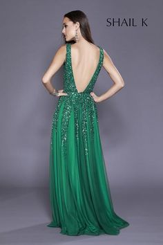 31f52e55d91c60 Plunging Neckline Low Back Sequin Dress 12134 #shailkusa #fashion  #dressoftheday #prom #ootd