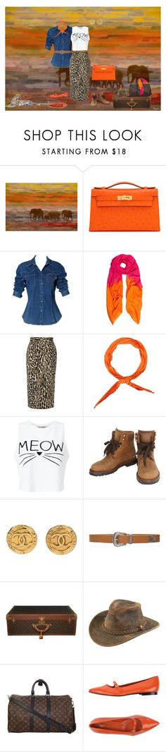 """""""Meow"""" by izimaher ❤ liked on Polyvore featuring Parvez Taj, Hermès, Moschino, Allegra London, By Malene Birger, Miss Selfridge, Chanel, B-Low the Belt, Louis Vuitton and Henschel"""