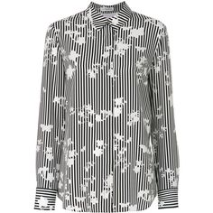 Altuzarra slim-fit striped shirt (€825) ❤ liked on Polyvore featuring tops, black, striped collared shirt, striped shirts, slim fit long sleeve shirts, long-sleeve shirt and long sleeve collared shirt