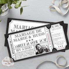 Un joli faire-part de mariage sur le thème du cinéma, reprenant l'idée d'un ticket de ciné rétro, en édition limitée.