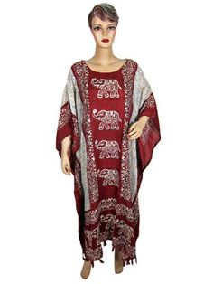 Kaftan, Womens Caftan- Resort Wear ,Lounge Wear, Maroon White Elephant Printed Cover up Dress One Size Mogulinterior, http://www.amazon.com/dp/B009GBRTRG/ref=cm_sw_r_pi_dp_qDxyqb15ERZZ3$29.99