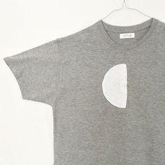 Half circle crochet shape placed on jersey t-shirt on Etsy. #crochet #tshirt #craft #handmade #shop #cool #oupalab