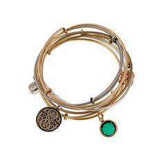 The Good Path Set of 5 Expandable Wire Bangles, By Tristan Prettyman ($88) ❤ liked on Polyvore featuring jewelry, bracelets, gold, hinged bangle, wire jewelry, bracelet bangle, adjustable bangle and jade bangle