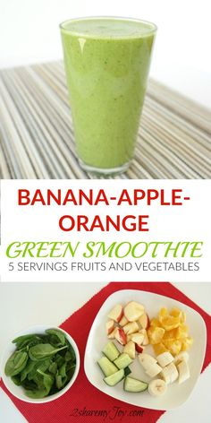 Want to boost your health and immunity? Try this Banana-Orange-Apple Green Smoothie Recipe full with vitamins, minerals and fiber. This green smoothie recipe contains 5 servings of fruit and vegetables. This smoothie recipe provides all vitamins you will Fitness Smoothies, Healthy Green Smoothies, Green Smoothie Recipes, Weight Loss Smoothies, Healthy Drinks, Healthy Recipes, Apple Green Smoothie, Vegetable Smoothie Recipes, Fodmap Recipes