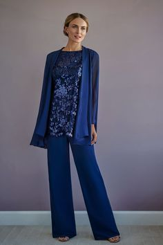 Two-Piece Charlotte Chiffon Swing Jacket with Pants and Audrey Sequin Lace Top Event Dresses, Bridal Dresses, Bridesmaid Dresses, Mother Of The Bride Suits, Jasmine Bridal, Chiffon Jacket, Lace Camisole, Long Tops, Couture Collection