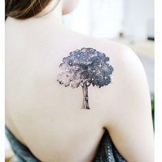 50 Shoulder Tattoo For Woman:Wonderfull Galaxy Tree Tattoo