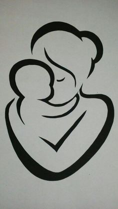 Mother and child Artist unknown Stencil Art, Sketches, Art Drawings, Drawings, Wood Art, Painting, Silhouette Art, Art, Rock Art