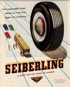 Vintage 1938 Seiberling Tires Ad