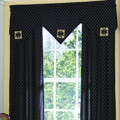 "Carrington Triple Point Valance measures 60""W x 20""L. Black and Cream. 100% cotton; lined. Dry cleaning recommended to prevent shrinkage. Matching tiebacks included. Coordinating window treatments are available. #country #valance #curtain"