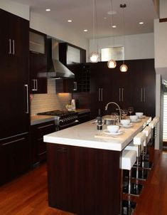 Modern Kitchen Espresso Cabinets, Carrara marble countertops, Glass tile backsplash, without the wood floors. Espresso Kitchen Cabinets, Modern Kitchen Cabinets, New Kitchen, Kitchen Decor, Dark Cabinets, Kitchen Ideas, Kitchen Grey, Glass Kitchen, Cherry Cabinets