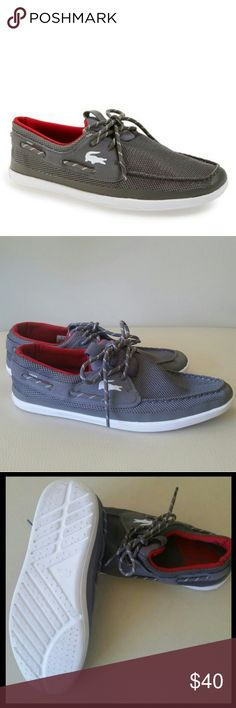 Lacoste Landsailing TRF2 Boat Shoe (Men's) Fit: Fits True To Size.  The Lacoste Sport Men's Landsailing Boat Shoes are great for casual wear. The shoes feature mesh uppers with faux leather detailing, 360 degree nautical lacing system, lightweight, ortholite sole, Lacoste croc logo at the side, and an ultra cushioned interior for support and comfort. Clean! Some wear on the soles. Overall excellent condition! Lacoste Shoes Boat Shoes