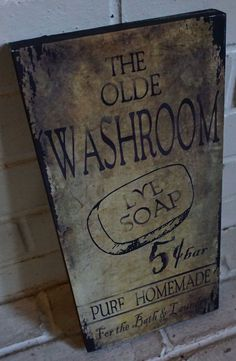 The Olde Washroom - Rustic Country Primitive Canvas Sign . Perfect as a country primitive addition to your bathroom decor. Laundry Decor, Laundry In Bathroom, Bathroom Signs, Washroom, Bathroom Storage, Bathroom Ideas, Bathroom Hardware, Pool Bathroom, Bathroom Shelves