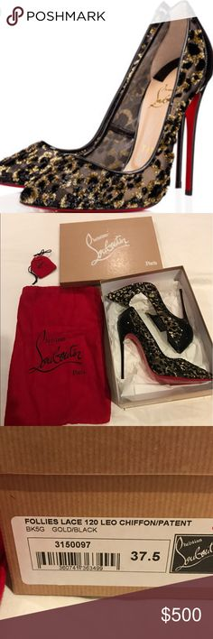 eb62cf6bd066 Authentic Christian louboutin Follies Lace 120 leo chiffon patent leather  size 37.5 brand new in