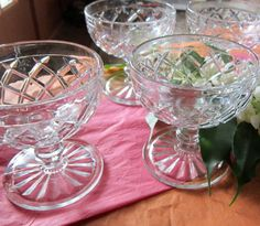 Sherbert Dishes cut glass from 1960's by VistaChick on Etsy, $18.00