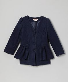 Take a look at this Navy Peplum Collarless Jacket - Toddler & Girls by Paulinie on #zulily today!