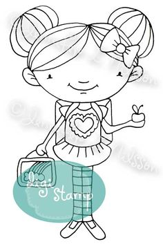 Digital Stamp - School Days GIRL - digistamp