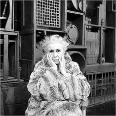 Louise Nevelson -  became renowned during the Abstract Expressionist period for constructing crated assemblages full of wooden items grouped together into monochromatically painted cubic structures. from The Art Story.org    http://www.theartstory.org/index.html