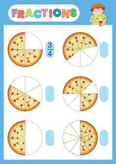 A math fraction worksheet Free Vector Fractions For Kids, Pizza Fractions, Math Fractions Worksheets, Learning Fractions, Math For Kids, Math Logo, Math Numbers, Math Lessons, Preschool Activities