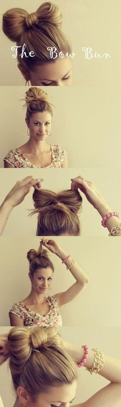 Steps on how to do the bow bun.(: