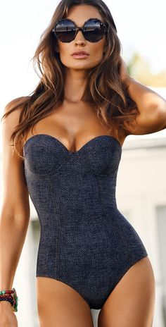 PilyQ 2014 Indigo Bustier Bandeau One Piece Swimsuit IND/5014/1PC | Southbeachswimsuits