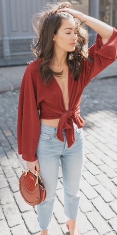 d23a4ea70328 How to style red for spring. Outfit  Red Kimono Tie Front Top