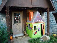Halloween themed cardboard playhouse.
