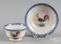 Blue spatter cup and saucer with rooster decoration. - Price Estimate: $60 - $90