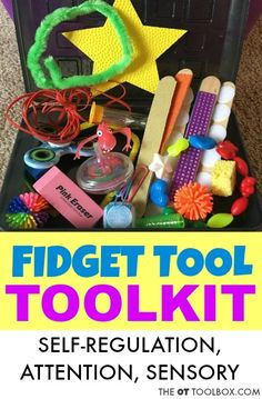 Make an occupational therapy activity toolkit to address attention or self-regulation needs using sensory fidget tools and other items used in pediatric OT. Play Therapy Activities, Occupational Therapy Activities, Sensory Activities, Occupational Therapy Assistant, Behavioral Therapy, Physical Activities, Sensory Tools, Sensory Diet, Sensory Boards