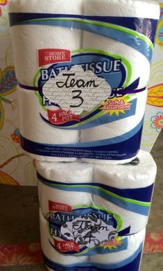 Bridal shower game: Toilet paper dress. Each team got 2 packs of Dollar Tree toilet paper & had 5 minutes to make a wedding dress on a team volunteer. The bride then picks the dress she thinks is the cutest & that volunteer wins a prize!
