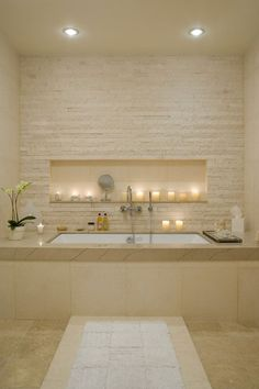 The lighting in your bathroom can make or break the haven. Small spotlights set into the ceiling can help create the ambience you desire.