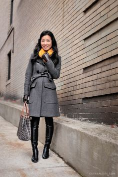 winter fashion - wool coat and over the knee boots