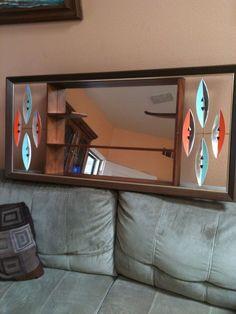 Mid Century Modern Atomic age Turner Wall Accessory Mirror Shelf Shadow Box