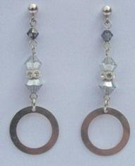 Silver ring earrings - Swarovski crystal & sterling silver earrings
