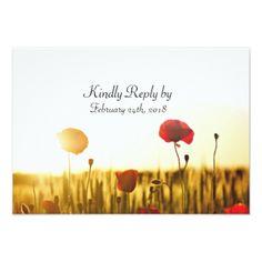 #Poppy Field Floral Outdoor Wedding RSVP Card - #weddinginvitations #wedding #invitations #party #card #cards #invitation #rustic