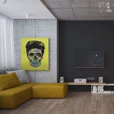 Quadro em canvas 100x75cm com borda preta. Gostou desse quadro? Crie o seu com essa imagem https://www.onthewall.com.br/color-your-death   Color Your Death - Balazs Solti #quadro #decoracao #decoração #canvas #caveira
