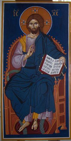 Jesus Christ Enthroned, Byzantine Greek Macedonian School of Emmanouil Panselinos, original mural painting in Mount Athos, Greece size c. 140 x 60 cm