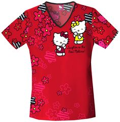 Hello Kitty Laughs in this print scrub top from The Uniform Outlet