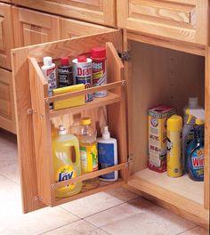 Under sink Cabinet door storage Door Storage, Storage Cabinets, Kitchen Storage, Kitchen Room Design, Kitchen Interior, Craftsman Interior, Interior Doors For Sale, Bois Diy, Built In Shelves