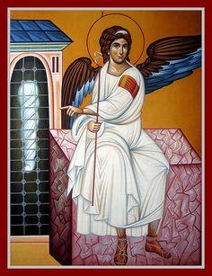 Angel at the Empty Tomb by Aleksandra Graovac of Serbia Orthodox Catholic, Chi Rho, Byzantine Icons, Art Icon, Orthodox Icons, Angel Art, Religious Art, Christianity, Religion