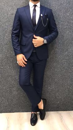 Collection: Spring – Summer 2019 Product: Slim-Fit Wool Suit Color Code: Navy Blue Size: Suit Material: 70 wool, 30 polyester Machine Washable: No Fitting: Slim-fit Package Include: Jacket, Vest, Pants Only Gifts: Shirt, Chain and Neck Tie Blue Slim Fit Suit, Blue Suit Men, Men's Blue Suits, All Black Suit, Men's Suits, Blazer Outfits Men, Stylish Mens Outfits, Stylish Clothes For Men, Blue Blazer Outfit Men