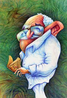 Gabriel Garcia Marquez (Colombian novelist) caricature illustrated by Agnaldo Timoteo