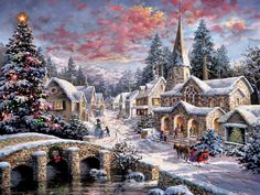 Village Christmas - art, artwork, Christmas, cityscape, cobblestone bridge, horse, painting, scenery, sleigh, snow, tree, village, winter