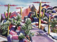 Boulder City by Diana Madaras Tucson, AZ Cactus Paintings, Art Gallery, Canvas Art Prints, Southwestern Art, Southwest Art, Western Art, Painting, Desert Art, Selling Art