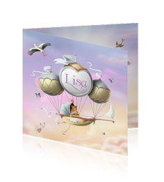 Dromerig geboortekaartje meisjes met wiegje aan luchtballonen. Pastelkleuren op de achtergrond. #geboortekaartjes  http://mycards.nl/geboortekaartjes/meisje/geboortekaartje-meisjes-luchtballon-sprookje-ooievaar