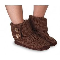 Ribbed Boot Slippers pattern by Mary Maxim