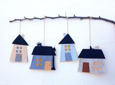 Elegant Felt Houses on the Wall by PudraPembe on Etsy